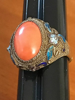 Antique Chinese Coral  Silver  Adjustable  Ring