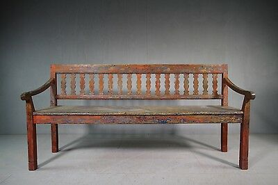 19th Century Antique Painted Pine Bench Seat.