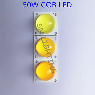 50W High Power COB LED Lamp Warm/Cool White/Golden 1500mA +60-80 Degree Lens