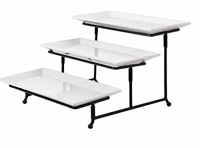 3 Tiered Squar Chip and Dip Set with Metal Rack Three Garden N' Home Guests Nice