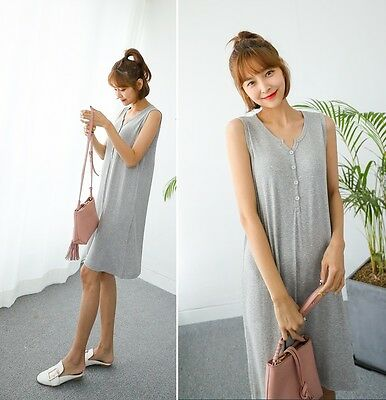 [SOIM] Nursing Dress Breastfeeding Clothes Casual Mom's Clothes Sleeveless Wear