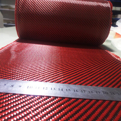 Carbon fiber & Red kevlar mixed fabric Carbon Aramid cloth 30cm wide 200gsm