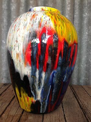 VINTAGE Large COLOURFUL DRIP GLAZE VASE Retro UNIQUE POTTERY