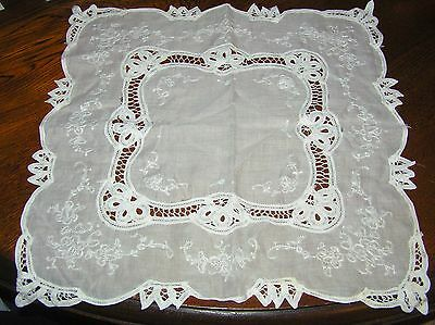 "Vintage Beautiful Square Big Doily Table Centre Battenberg Lace 15"" Fine Cotton"