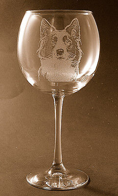 New! Etched Border Collie on Large Elegant Wine Glass