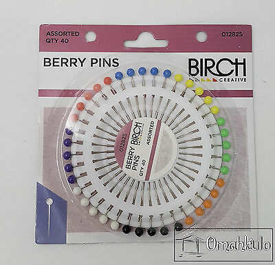 BIRCH Berry Sewing Pins - Assorted Colours - 40 Pack -