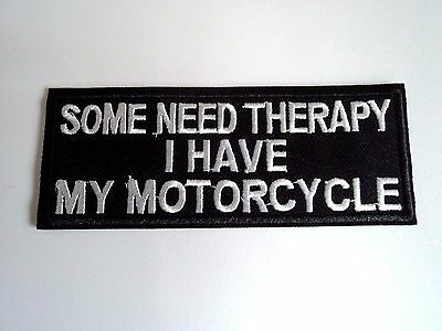 1x Motorcycle Therapy Biker Patches Embroider Cloth Applique Badge Iron Sew On
