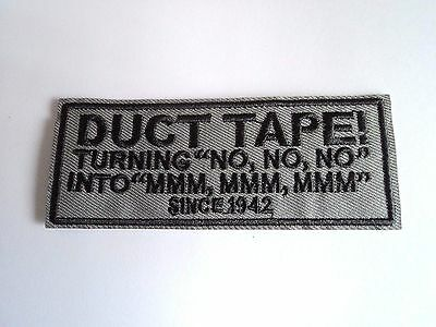 1x Duct Tape Biker Patches Embroidered Cloth Applique Badge Iron Sew On Vest