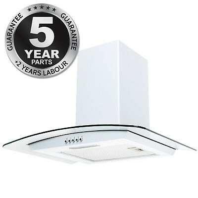 SIA CPL61WH 60cm Curved Glass Chimney Cooker Hood Extractor Fan In White
