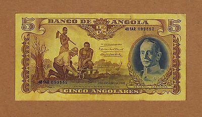 Portuguese  Angola  5 angolares  01.01.1947  VF+/XF  Difficult Note