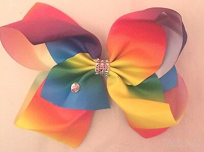 "Girls XL Rainbow Hair Bow Clip 8"" Big Dance Moms School Gem Stone Crystal UK"