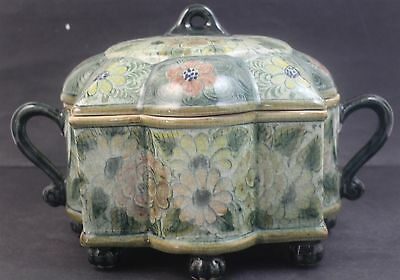 Large Signed MAITLAND SMITH Hand Painted Ornate Porcelain Lobed Centerpiece Box