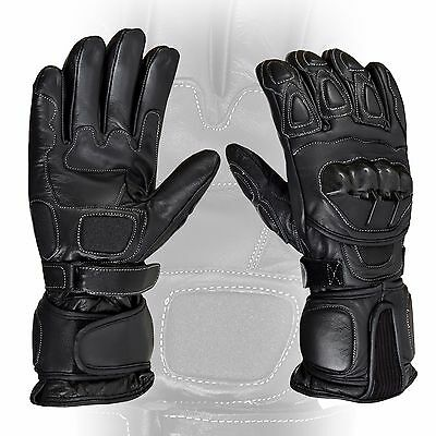 Black Motorcycle Leather Cowhide Bikers Gloves Motorbike Winter Glove