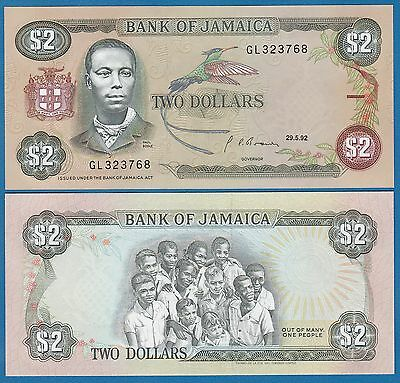 Jamaica 2 Dollars P 69 d 1992 UNC  Low Shipping! Combine FREE! (P-69d) Sign 10