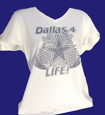 Dallas Cowboys Dallas 4 Life Rhinestone Bling vneck ladies Tshirt