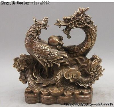 """11"""" Chinese Fengshui Bronze Copper Lucky Dragon Phoenix Play Bead Wealth Statue"""