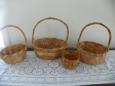 4 Small Vintage Easter Baskets 1950's Made In Mexico Easter Baskets 1 Mini Baske