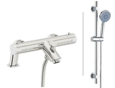 modern Bath Thermostatic Deck Mounted Shower Mixer Tap Shower RailKit Chrome