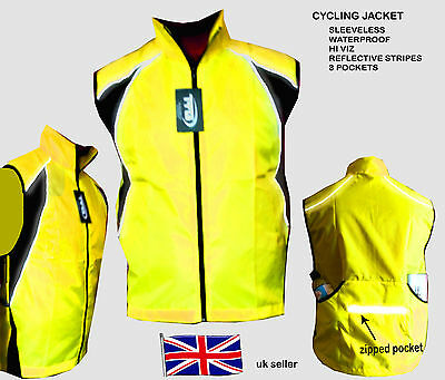 Cycling Jacket Sleeveless High Visibile Hi Viz Windproof Waterproof Riding Run