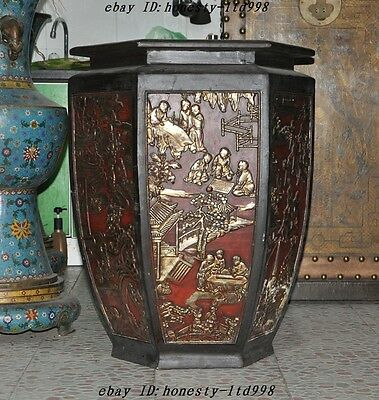 "30""Rare Huge Old Chinese lacquerware Wood 100 boy Kids Statue Tank pot jar Crock"