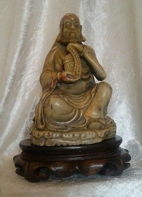 Antique Japanese Lohan Wise Man Soapstone Figure With Stand 19th Century c1870s