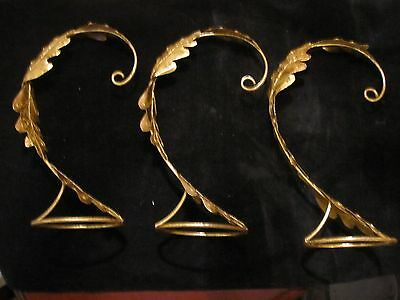 "RARE LOT 3 Gold Leaf Design Christmas Ornament Stands Large 10"" Must See These"