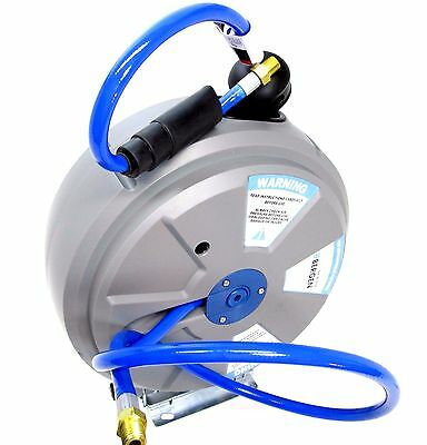 BERGEN Retractable Air Line Hose Reel 15m Wall Mountable Compressed Airline 8109