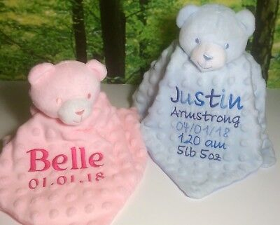 Personalised Baby Comforters, Embroidered Teddy Bear Comforters