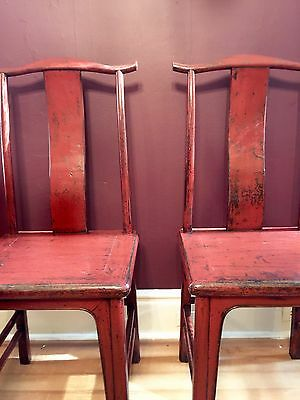 """PAIR OF 19TH CENTURY RED LACQUER MING CHAIRS """"wonderful patina"""""""
