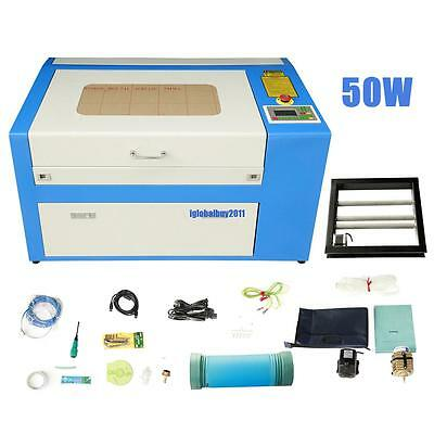 50W CO2 Laser Engraving Cutting Machine Engraver Cutter High Precise USB Port
