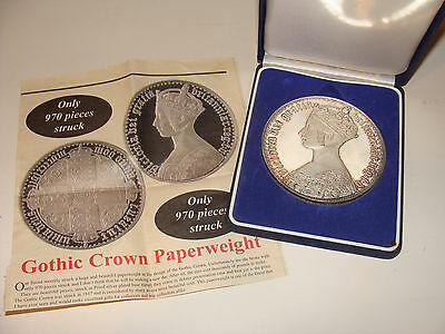 "Queen Victoria Gothic Crown Paperweight Silver-plated Proof in Case 3.5"" 14 oz"