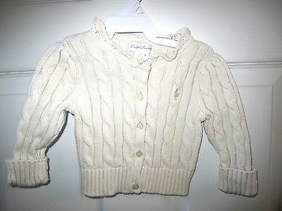 Infant Girls RALPH LAUREN Cream Cable Cardigan Sweater Size 6 Mos.