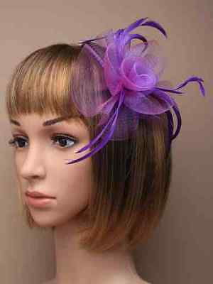 NEW Purple loop net feather aliceband fascinator wedding races prom ascot ball