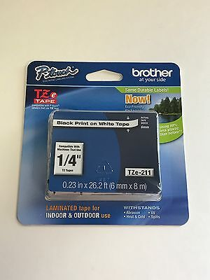 "Brother P-touch 1/4"" (0.23"") Black on White Standard Laminated Tape, 26.2 ft."