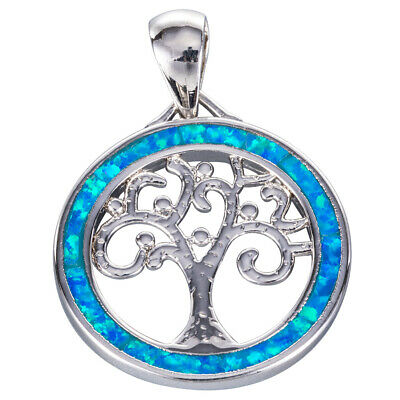 Tree of Life Ocean Blue Fire Opal Silver Jewellery Pendant for Necklace
