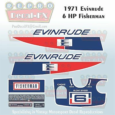 1965 Evinrude 5HP Fisherman Outboard Reproduction 9Pc Marine Vinyl Decal 5502-03