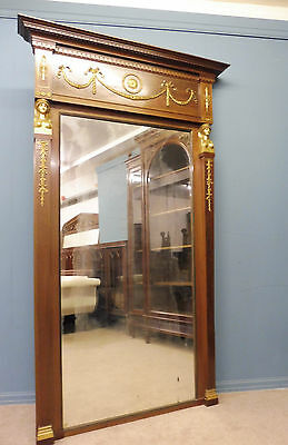 Very Large Antique Mahogany French Empire Mirror With Ormolu  Mounts Circa 1900