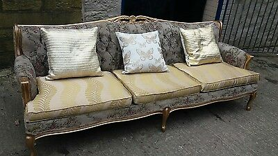 Vintage Antique Edwardian Influenced Unusual long 're cushioned Bedroom Sofa