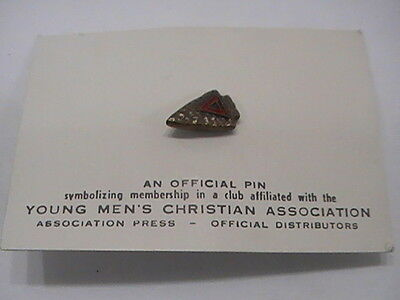 """Vintage YMCA Arrowhead """"Indian Guides"""" Lapel Pin Enamel Red Triangle NEW NOS"""