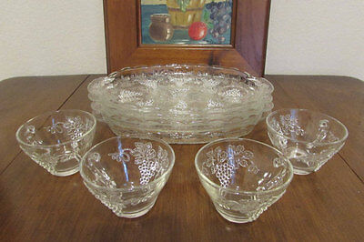Anchor Hocking VINTAGE GRAPE 8pc Snack Set - 4 Snack Plates & 4 Cups