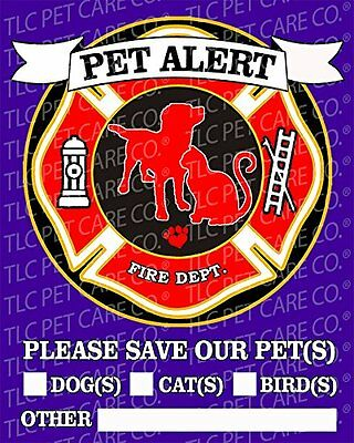 "2 Pack PET SAFETY ALERT Emergency Pet Dog Cat Fire Rescue 4"" x 5"" Behind the ..."