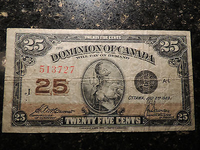 1923 Dominion Of Canada Shinplaster 0.25 Cents Paper 513727 Mccavour Saunders