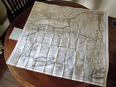 1897 CANAL & RAILROAD MAP of NEW YORK STATE - Rare Antique Folding Map