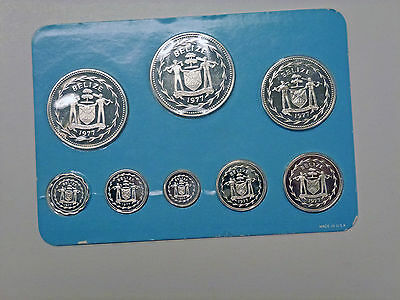 {BJSTAMPS} 1977 Coinage of BELIZE 8 COIN Set Silver PROOFs Sealed