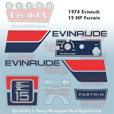 1974 Evinrude 15 HP Fastwin Outboard Repro 11 Pc Marine Vinyl Decals 15404-05