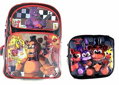 """Five Nights at Freddy's Large Backpack 16"""" Boys School Book Bag Plus Lunch Bag"""