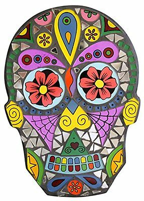 9 Inch Day of the Dead Sugar Skull Glass and Mirror Mosaic Wall Plaque