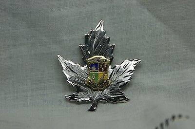 city of Moncton AMco Sterling Maple Leaf Enamel coat of Arms brooch or pin