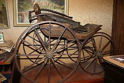 Antique c.18 Baby Carriage Buggy Stroller Pram stage coach like construction