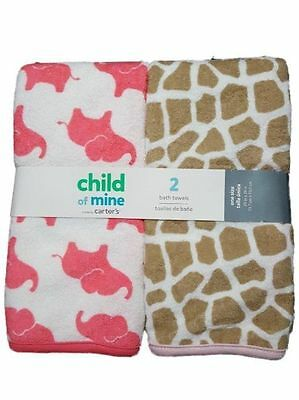 NWT Child of Mine by Carter's Baby Girl 2-Pack Towels Safari Elephants Shower